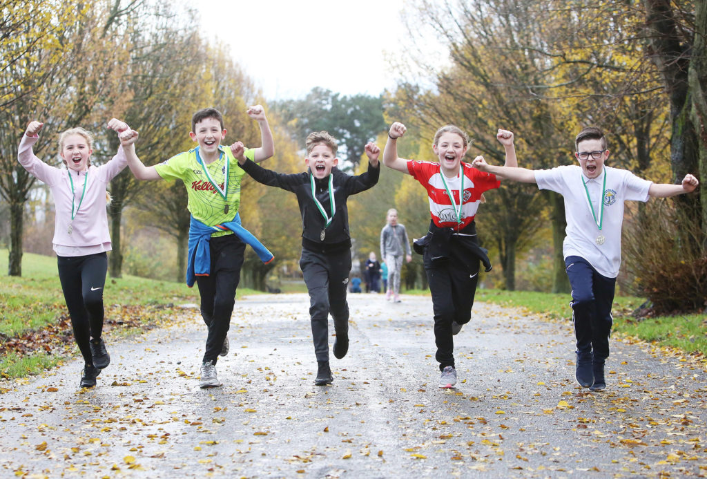 St John the Baptist pupils take part in Couch to 5K at the Falls Park pictured are: Laoise Mervyn, Ronan Leonard, Lucas Corr, Olivia May and Charlie McAvoy