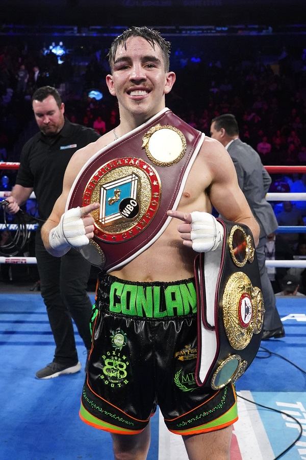 Michael Conlan celebrates after his win on Saturday Mandatory Credit ©INPHO/Emily Harney