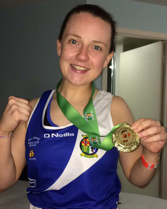 Louise Welsh with her gold medal from the 2017 Esker Box Cup