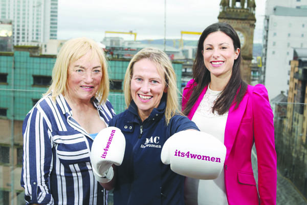 Cathy McAleer with Kellie Maloney and with Kerry Beckett from its4women at the Merchant Hotel on Tuesday