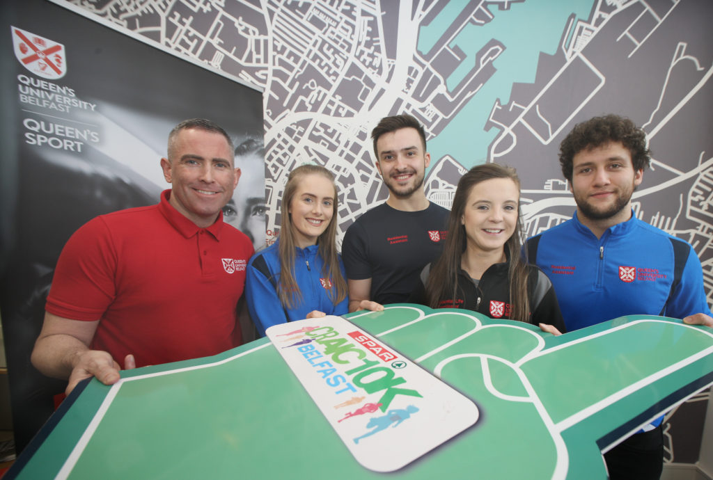 STUDENTS SIGN UP: Barry Cruickshank, Ceejay Byrne, James Pollock, Niamh Turner and Matthew Kilic are in training for the SPARCraic 10K on St Patrick's Day in Belfast