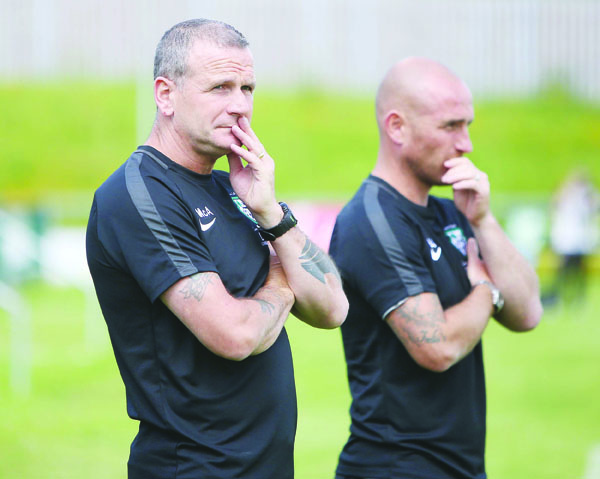 St James' Swifts joint-managers Packie McAllister and Barry Johnston will be hoping the West Belfast side can progress to the last eight of the Intermediate Cup when they take on Lisburn Distillery at New Grosvenor Stadium on Saturday afternoon
