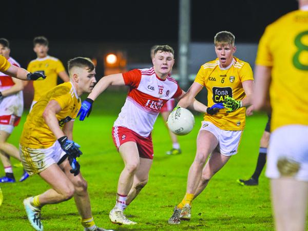 Cormac McGettigan gains possession against Derry