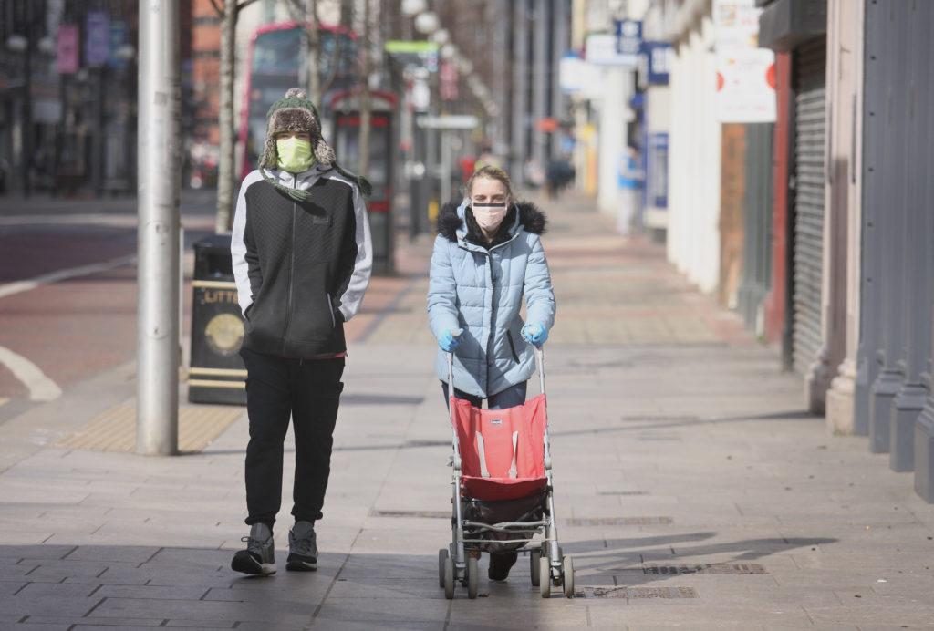 Masked up in a deserted Belfast City Centre