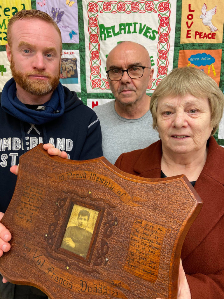 CALL: Joan and Paddy Nolan with Paul Butler of RFJ holding a picture of Francis