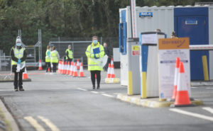 A Covid-19 test centre which was opened this week in the car park of the SSE arena[/caption]