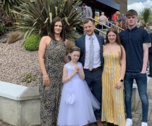 ISOLATING: Seán Mac Mánais pictured with his wife Marian, his daughters Siân and Cadhla, and his son Conall.